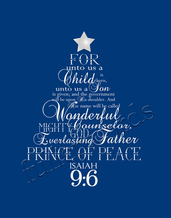 Items Similar To Christmas Word Art Isaiah 9 6 Digital