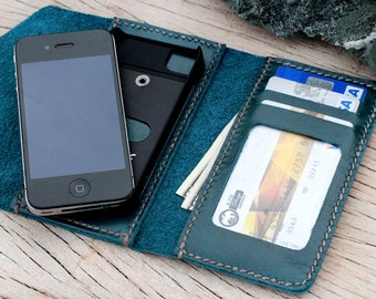 Letter teal leather iphone wallet with case