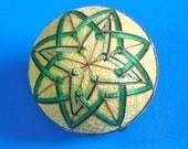 Temari Ball Ornament 3 Greens on Yellow