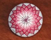 Rattling Temari Ball Ornament Pink Flowers on White