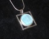 Pale Ocean Fused Glass Pendant with Sterling Silver Necklace