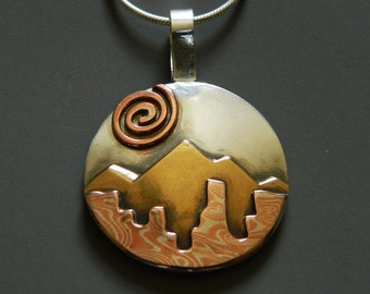 "Mixed metal jewelry, mixed metal necklace, mokume gane landscape pendant, ""Perfect Landscape"""