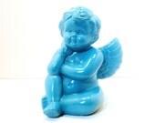 vintage cherub, ceramic figurine  //  turquoise, aqua blue home decor, upcycled figurines, angel, angels, romantic, colorful accessories