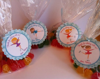 Ice Skating Party Favor Bags - Ice Skating Birthday Favors - Skating Favor Tags