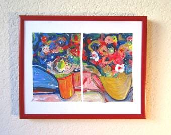 Bouquet Print, painting, Joie de Vivre, meaning Joy of Life in French, acrylic