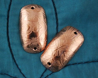 Floral Copper Spacers - domed rectangular connectors - etched copper connector - william morris design - embossed & etched - copper findings
