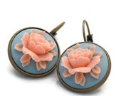 Vintage Style Pink Rose on Light Turquoise Antique Brass Drop Dangle Earrings