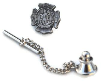 Firefighter Tie Tack Saint Florian in Pewter Patron Saint