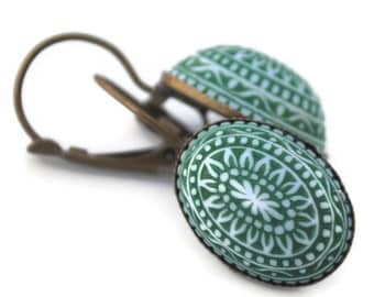 Evanora Inspired Bohemian Style Green Mosaic Leverback Earring Antique Brass
