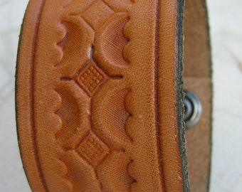 Mens Brown Leather Cuff Stamped Design Tuff Bracelet with Snap BRN-15-1