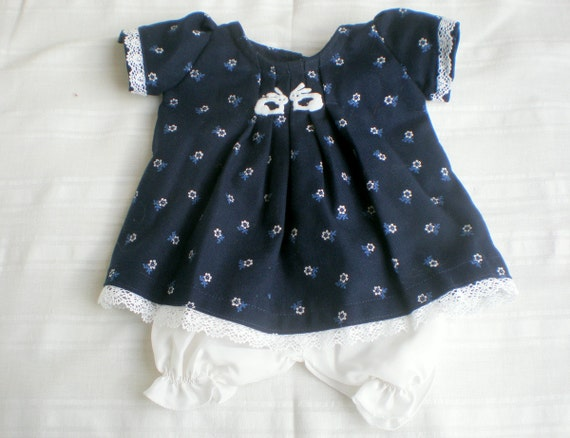 """Waldorf dress and bloomers for 15 - 16"""" doll, blue dress with flowers and white silk bloomers"""