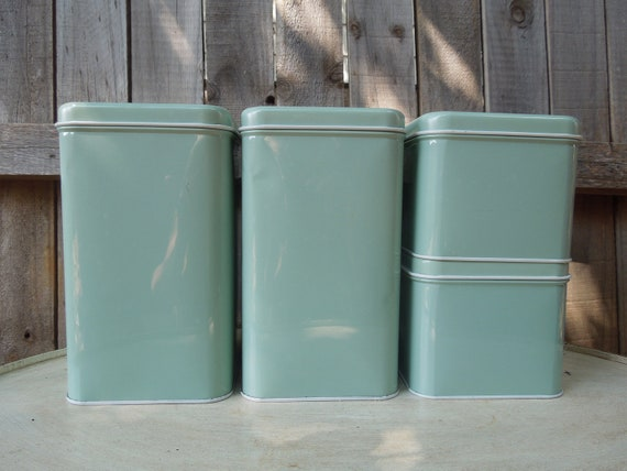Reserved for Marilyn....VIntage Mint Green Metal Canister Set