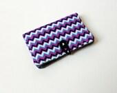 Purple Chevron Fabric Business Card Holder, with Grey Black Polka Dot - Credit Card Holder, Cloth Card Holder, Gift Card Holder