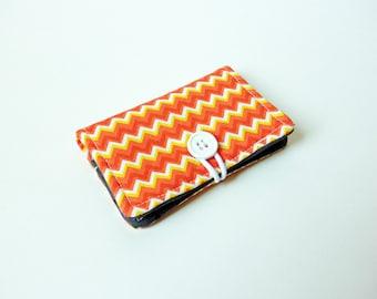 Orange Chevron Fabric Business Card Holder, with Grey Black Polka Dot - Credit Card Holder, Cloth Card Holder, Gift Card Holder