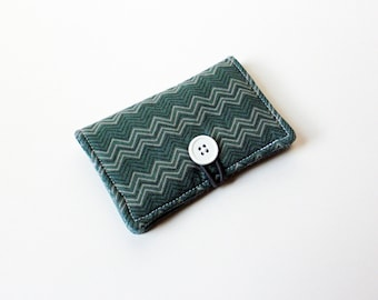 Green, Grey Chevron Fabric Business Card Holder, with Green, Grey Paisley - Credit Card Holder, Cloth Card Holder, Gift Card Holder