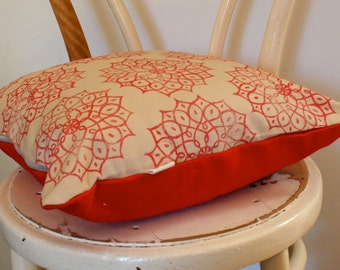 SALE Red Indian Motif hand block printed scatter decorative cushion cover