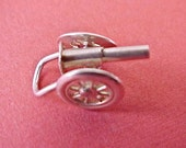 Unusual 1940's Military Artillery Caisson Mechanical Sterling Silver Charm
