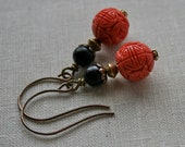 Coral Beauty Earrings - Carved Coral and Teakwood Beads with Natural Lead Free Brass Earwires