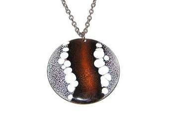 Vintage 70s Handmade Brown Black White Abstract Copper Enamel Pendant Necklace
