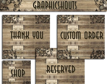 Banner Set - Banners and Avatars - Vintage Wood, Button and Scroll Design Set - Vintage Banner cover banner