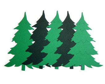 pine tree die cuts, christmas tree die cuts, pine tree shapes, pine tree cut outs, spruce tree cut out, embellishment, christmas decoration