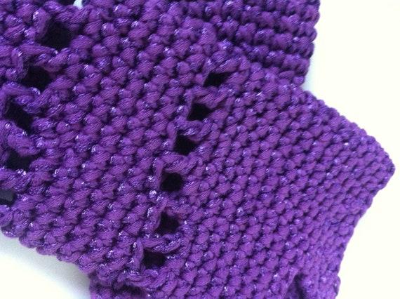 Plum Purple Crochet Fingerless Gloves