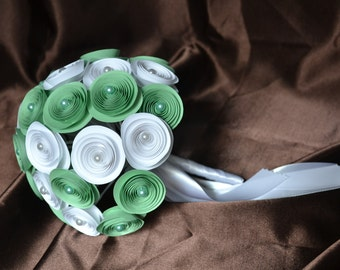 Wedding bouquet, White with pistachio green, summer bouquet with white pearls, 30 flowers