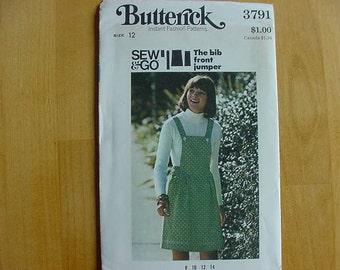Cute VINTAGE 1970s Butterick Pattern 3791 Misses Bib Front A-Line Jumper, Size 12 Bust 34 Uncut