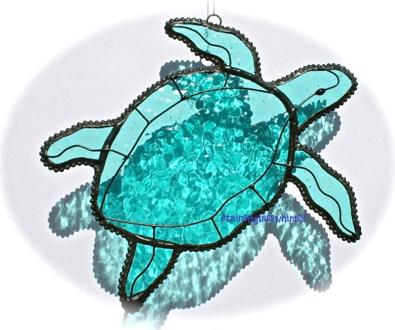 Stained Glass SEA TURTLE Suncatcher - Transparent Aqua/Turquoise - USA Handmade Original
