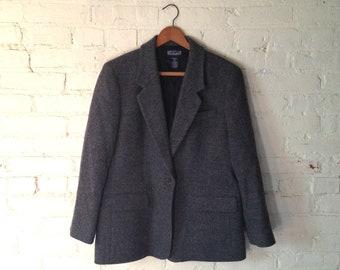 Vintage Lands' End Blazer, Women 10P, Lined, Wool, Lambswool