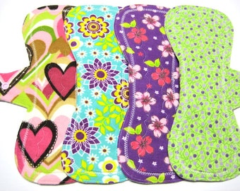 "10"" Reusable Mama Cloth Pads / Menstrual Pads / Incontinence Pads - Set of 4 - Customize Your Flow Level, Backing and Your Fabrics"