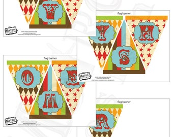 Vintage Circus Baby Shower Banner - Digital File