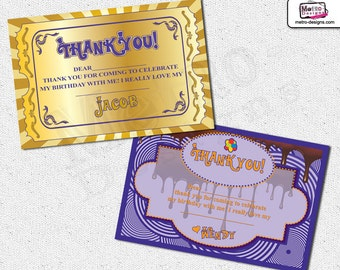 Chocolate Factory Thank You Cards, Chocolate Factory Thank You Notes, Willy Wonka Thank You Card, Chocolate Factory Party, Willy Wonka Party