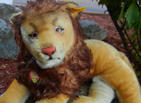 "Very Large Steiff Vintage Lion ""Leo"" 1955 Replica ALL IDs 20"" Long  Mint  Condition"