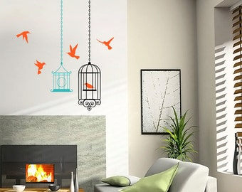 Birds Cages With 5 Sunbird Vinyl Wall Decal - ID23