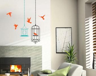 Birds Cages Decal, Home Decor, Sunbird Vinyl Wall Decal, Girls Room Decor, Nursery Decor, Nature Wall Decals, Vinyl Sticker - ID23 [p]