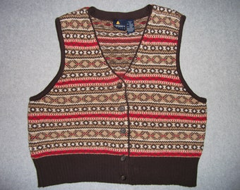 Nordic Ski Winter Sweater Vest Earth Tone Button Up Tacky Gaudy Ugly Christmas Party X-Mas Petite M Medium