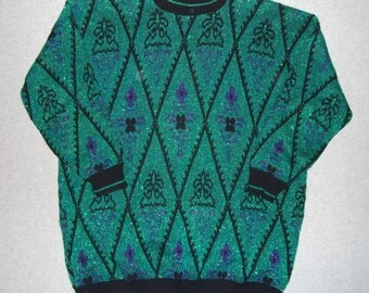 Sparkle Sparkly Green Vintage Sweater Tacky Gaudy Ugly Christmas Party X-Mas Party Winter Warm Holiday Made In USA 24W 3X XXXL