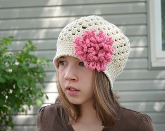 Crocheted Mesh Style Hat White Detachable Pink Flower Size Toddler/Child MADE TO ORDER