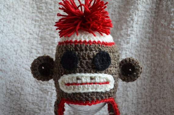 Crocheted Brown Sock Monkey Ear Flap Hat 03 by ...