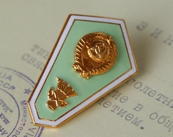 Vintage Soviet Enamel Pin - College Badge - Uniform Pin - Craft Supply - Vintage Suit Making Supplies