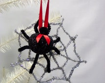 Christmas Spider Ornament Silver Web