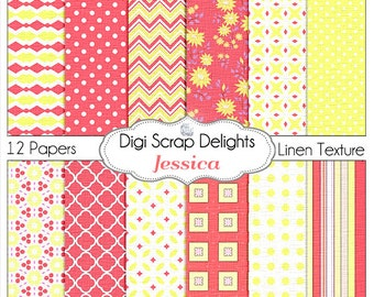 Jessica Coral Pink & Yellow Digital Papers: Linen Textured Floral, Chevron, Quatrefoil, Instant Download