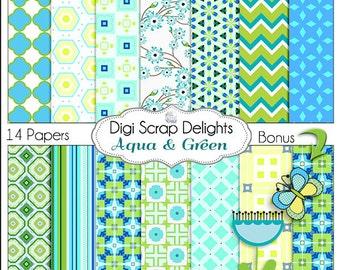 Aqua Green Digital Papers for Digital Scrapbooking, Card Making, Crafts, Teachers with Bonus Butterfly & Dandelion, Instant Download