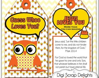 Halloween Owl Printable Scripture Treat Tags. Candy Corn, Owls in Yellow, Orange, Black for Party Favors, Instant Download