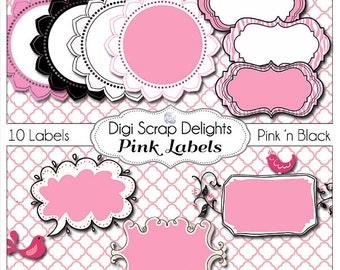 Pink and Black Labels  1 Clip Art for w Zebra Stripes & Polka Dots for Digital Scrapbooking,  Card Making