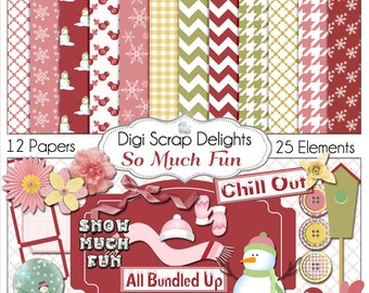 Christmas Clip Art: Snow Much Fun Digital Scrapbook Kit with Snowmen in Red, Pink, & Gold, Instant Download
