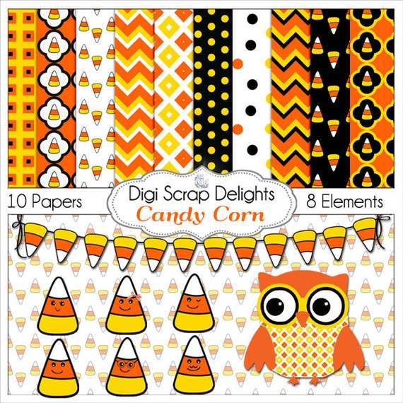 Candy Corn Clip Art, Owl,  Digital Papers Black Orange Yellow Fall / Autumn Teacher, Card Making, Crafts, Instant Download