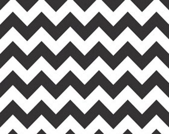 Clearance-Medium Chevron Cotton-Black by Riley Blake- 1 yard