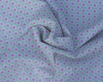 Pink Green Floral Cotton Fabric, 1 Yard
